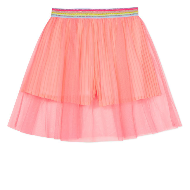 SHORT PETTICOAT IN FLUORESCENT CORAL TULLE