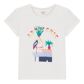 CHALK-WHITE T-SHIRT WITH A COLOURFUL PLAYFUL PATTERN