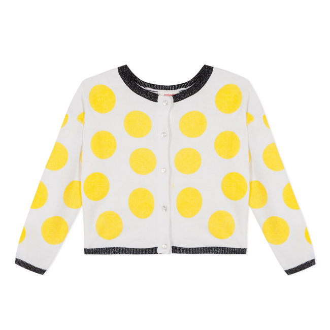 POLKA DOT DOUBLE-SIDED JACQUARD CARDIGAN