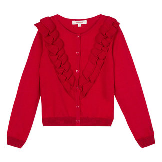 RED RUFFLED COTTON CARDIGAN