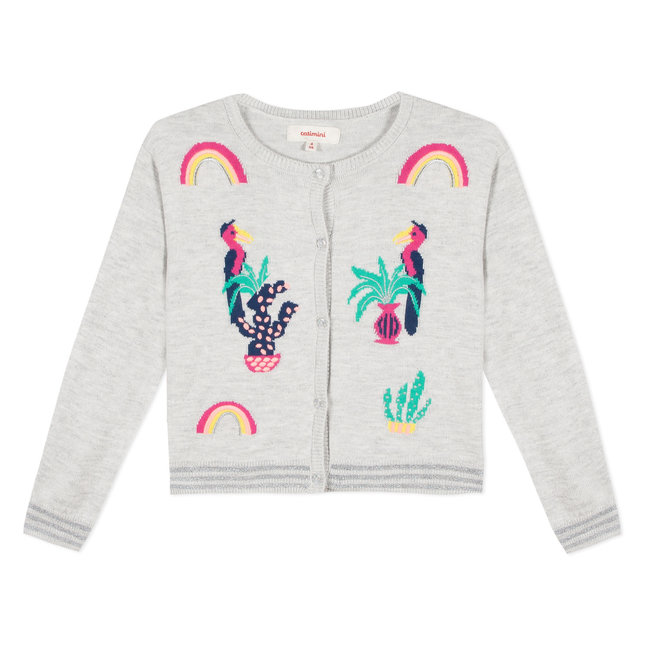 MARL KNIT CARDIGAN WITH COLOURED EMBROIDERIES