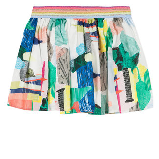 COLOURED PRINTED VOILE SKIRT
