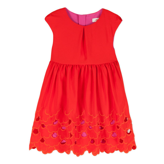 DRESS WITH TANGERINE RED OPENWORK EMBROIDERY