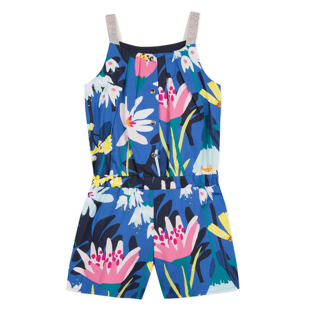 PLAYSUIT IN VOILE WITH A PLANT PRINT