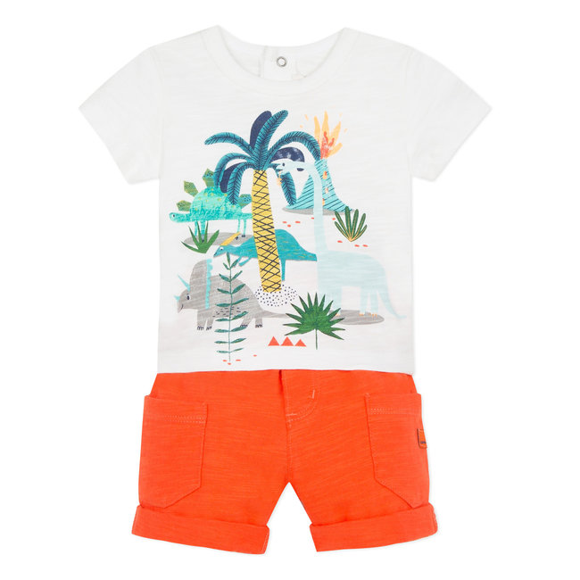 T-SHIRT WITH DINOSAUR PRINT AND FIERY-ORANGE KNIT SHORTS