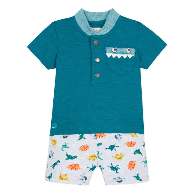 BUTTONED T-SHIRT AND FLEECE SHORTS WITH DINOSAUR PRINT