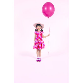 ORGANZA DRESS WITH POP FLOWERS PRINT
