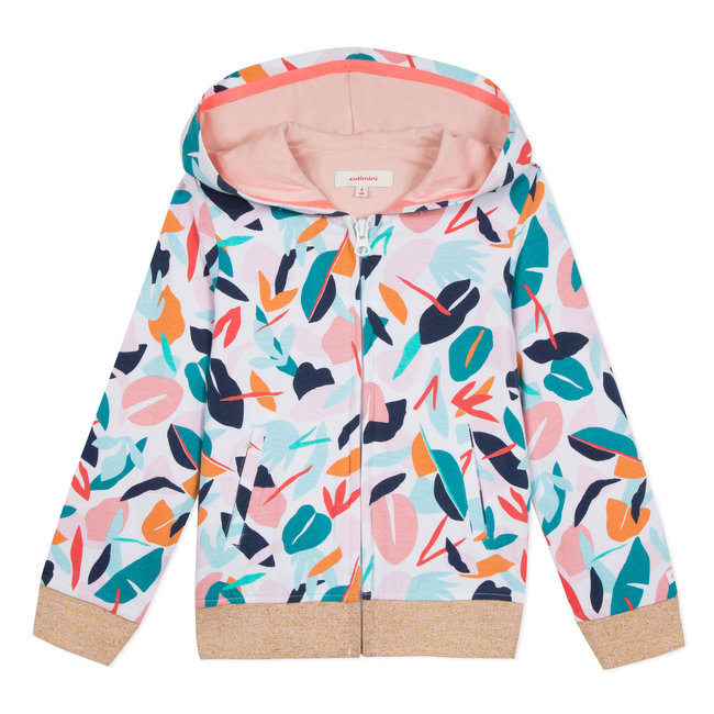 CATIMINI ZIP-UP HOODED FLEECE SWEATSHIRT WITH LEAFY PRINT