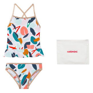 CATIMINI TWO-PIECE BATHING COSTUME WITH PLANT DESIGN