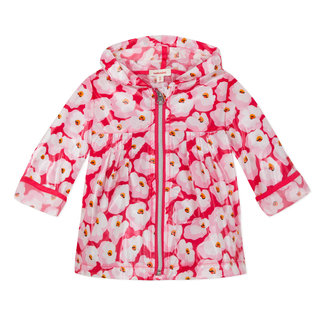 TRANSPARENT RAINCOAT WITH CHERRY BLOSSOM PRINT