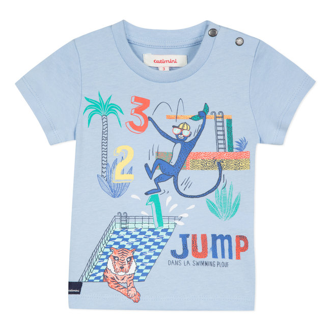 T-SHIRT WITH A FANCY SKY BLUE ANIMAL MOTIF
