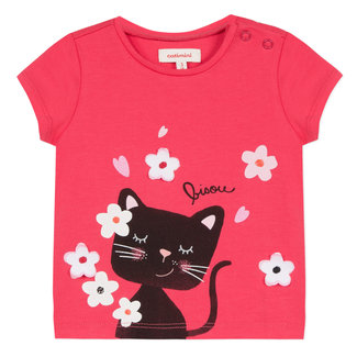 T-SHIRT WITH 3D CAT AND FLOWERS PATTERN