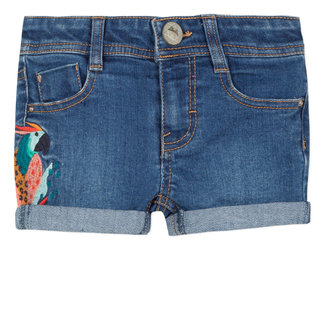 CATIMINI STRETCH DENIM SHORTS WITH PARROT EMBROIDERY