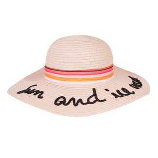 STRAW HAT WITH EMBROIDERED MESSAGE