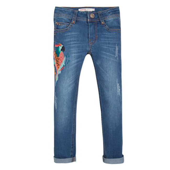 SKINNY STRETCH DENIM JEANS WITH PARROT EMBROIDERY