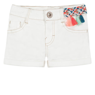 SHORTS IN WHITE DENIM WITH COLOURFUL BRAIDING