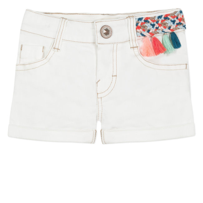 CATIMINI SHORTS IN WHITE DENIM WITH COLOURFUL BRAIDING