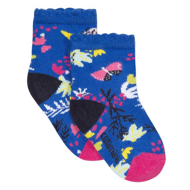 CATIMINI ROYAL BLUE FLORAL JACQUARD SOCKS