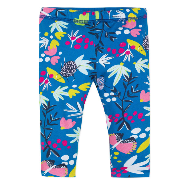 REVERSIBLE LEGGINGS WITH FLOWER PRINT AND PLAIN DESIGN