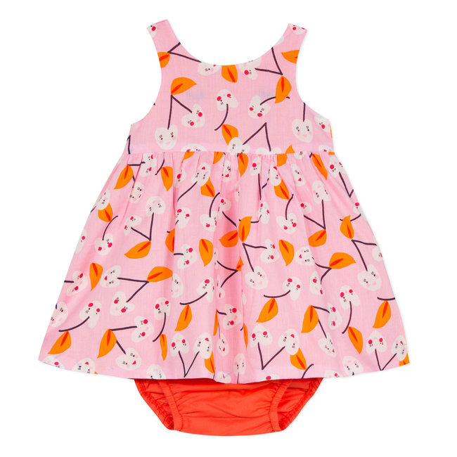 REVERSIBLE DOUBLE VOILE DRESS WITH CHERRY PRINT AND BLOOMERS