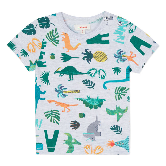 MOTTLED T-SHIRT WITH DINOSAUR PRINT