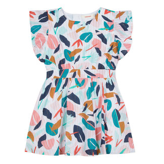 LOOSE-FITTING DRESS IN IRIDESCENT LEAFY-PRINT VOILE