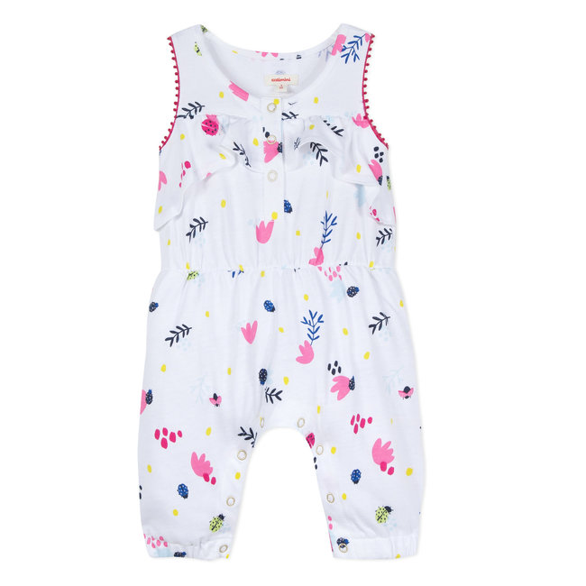 CATIMINI JERSEY JUMPSUIT WITH FLORAL PRINT