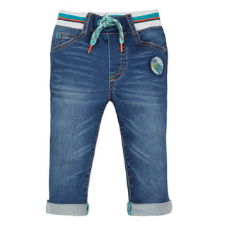 JEANS IN STONE-WASHED DENIM KNIT, KNITTED WAISTLINE
