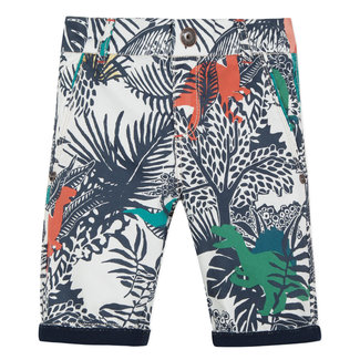 GABARDINE BERMUDA SHORTS WITH JUNGLE PRINT