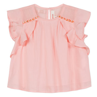 CATIMINI FRILLED TOP IN BLUSH-PINK SEERSUCKER