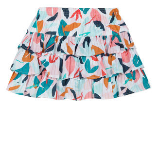 FRILLED SKIRT IN IRIDESCENT LEAFY-PRINT VOILE