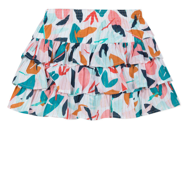 CATIMINI FRILLED SKIRT IN IRIDESCENT LEAFY-PRINT VOILE