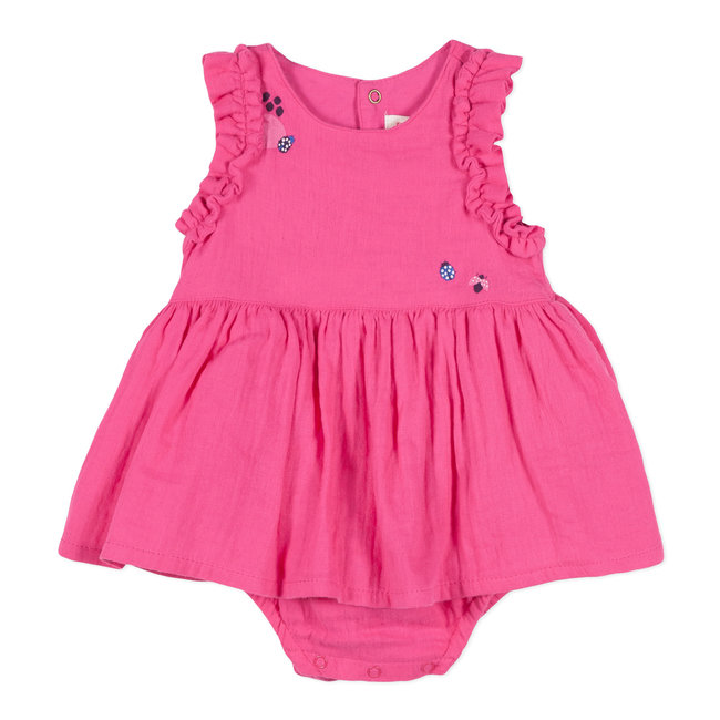 FUCHSIA COTTON GAUZE SHORT PLAYSUIT