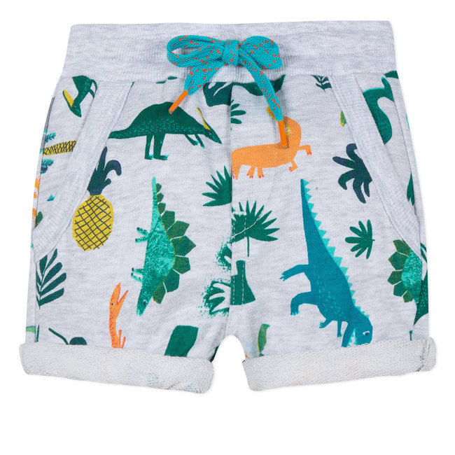 FLEECE BERMUDA SHORTS WITH DINOSAUR PRINT