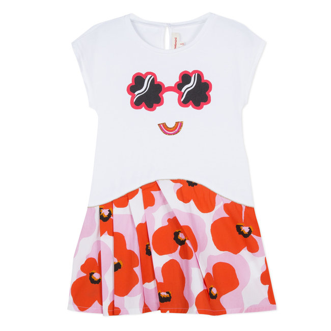 DRESS IN JERSEY AND POPLIN WITH FLOWER POWER PRINT