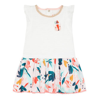 DRESS IN DOUBLE JERSEY WITH CUDDLY TOY VOILE FLOWER PRINT