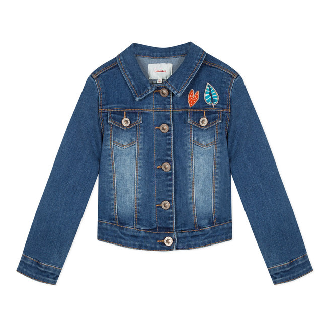 CATIMINI DENIM JACKET WITH PARROT EMBROIDERY ON THE BACK