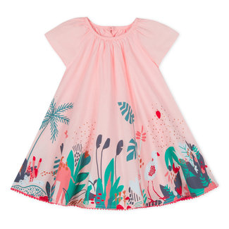 COTTON VOILE DRESS WITH PRIMITIVE PRINT PATCH