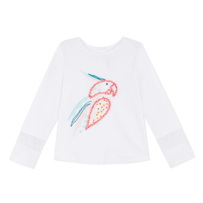 COTTON LACE T-SHIRT WITH 3D PARROT DESIGN
