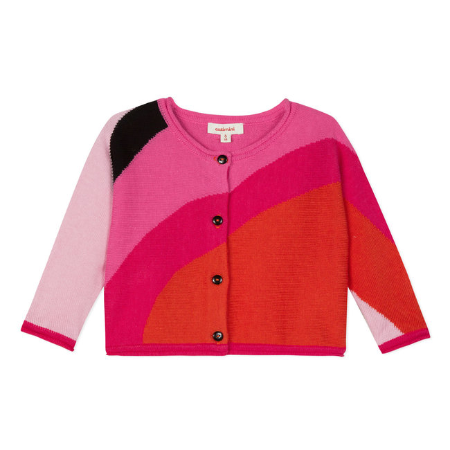 BUTTONED COLOURBLOCKS CARDIGAN