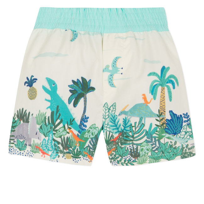 BERMUDA SWIM-SHORTS WITH PRIMITIVE ROCK PRINT