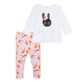JERSEY BLOUSE WITH RABBIT MOTIF AND CHERRY PRINTED LEGGINGS
