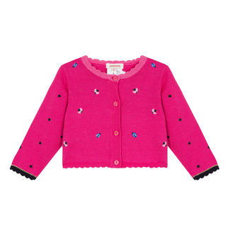 FUCHSIA PINK CARDIGAN WITH INSECT EMBROIDERY