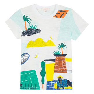 T-SHIRT WITH COLOURFUL ARTY VISUAL