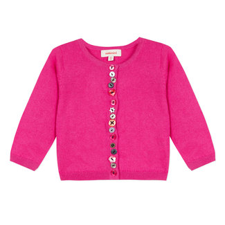 PINK CARDIGAN WITH PATTERNED BUTTONS