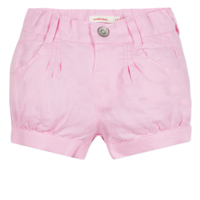 PINK LINEN PLEATED SHORTS