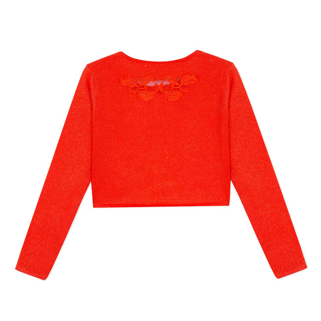 TANGERINE KNITTED BOLERO WITH OPENWORK MOTIF ON THE BACK