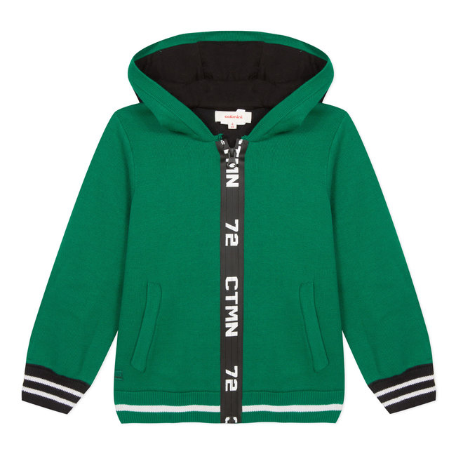 Zip-up knit hooded sweatshirt