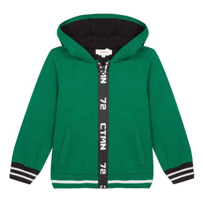 Zip-up knit hooded sweatshirt