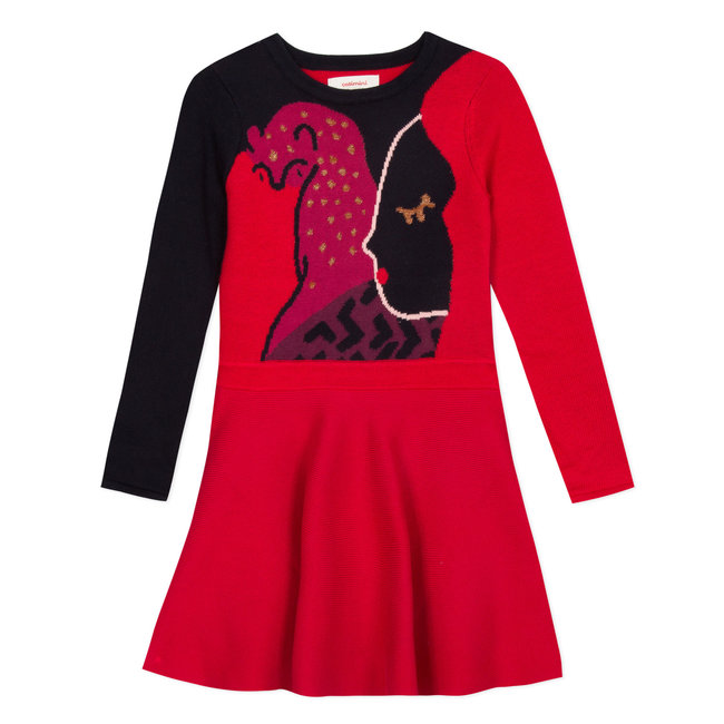 Sweater dress in large face jacquard